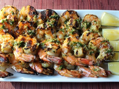 Grilled Garlic & Herb Shrimp - How to Make Grilled Garlic Herb Shrimp Skewers