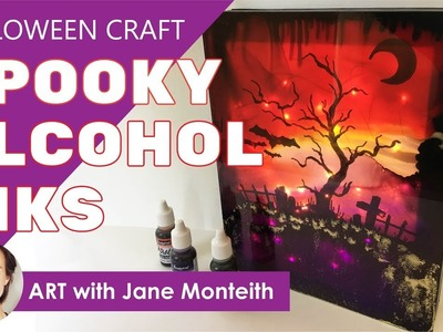 Halloween DIY Alcohol Ink Craft with Plexiglass and String Lights!