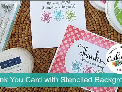 Hand Made Thank You Card with Stenciled Background