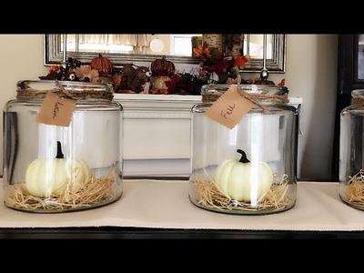 Harvest Home Decor || Farmhouse Jars & Pumpkins || Fall Home Decor
