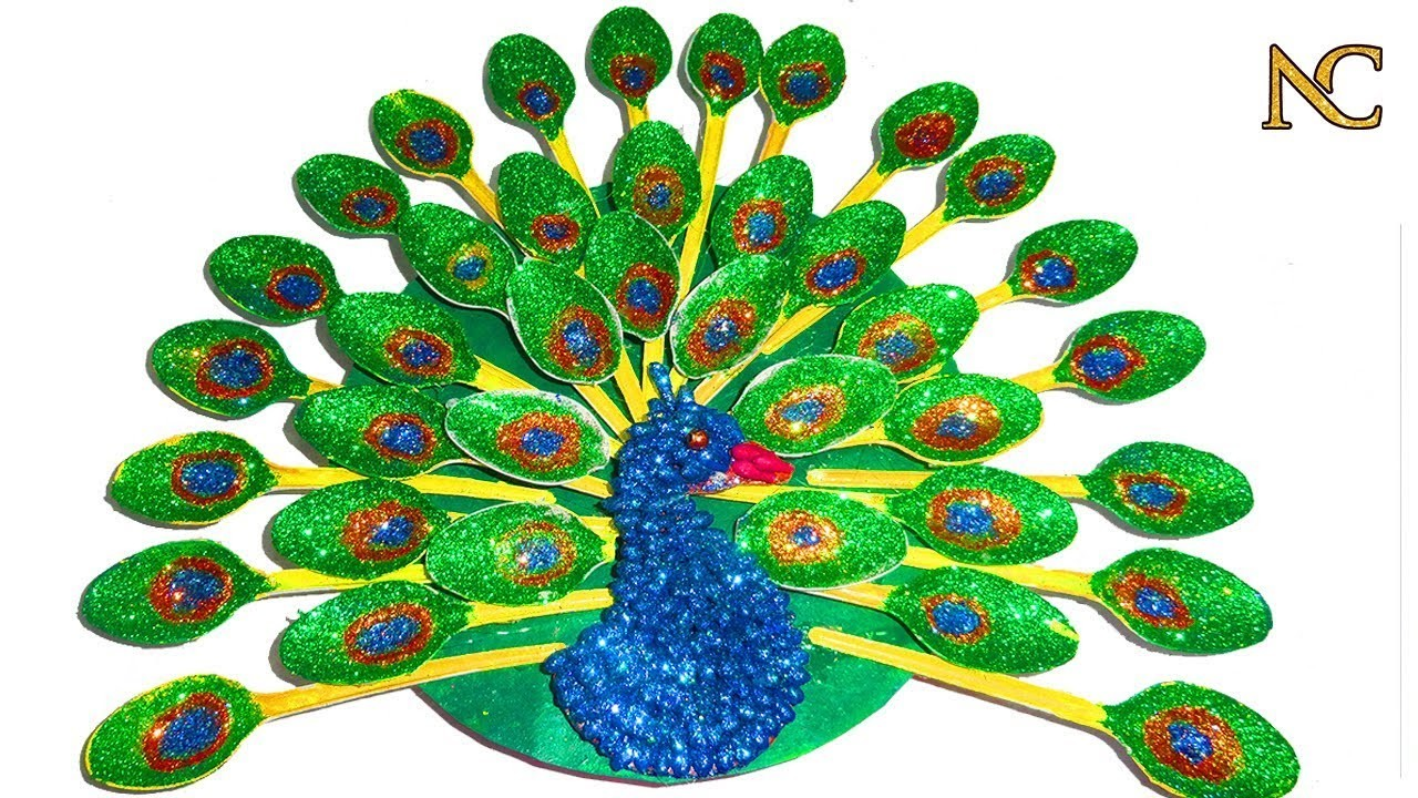 How to make a Peacock from spoon   peacock craft   Nalicraft