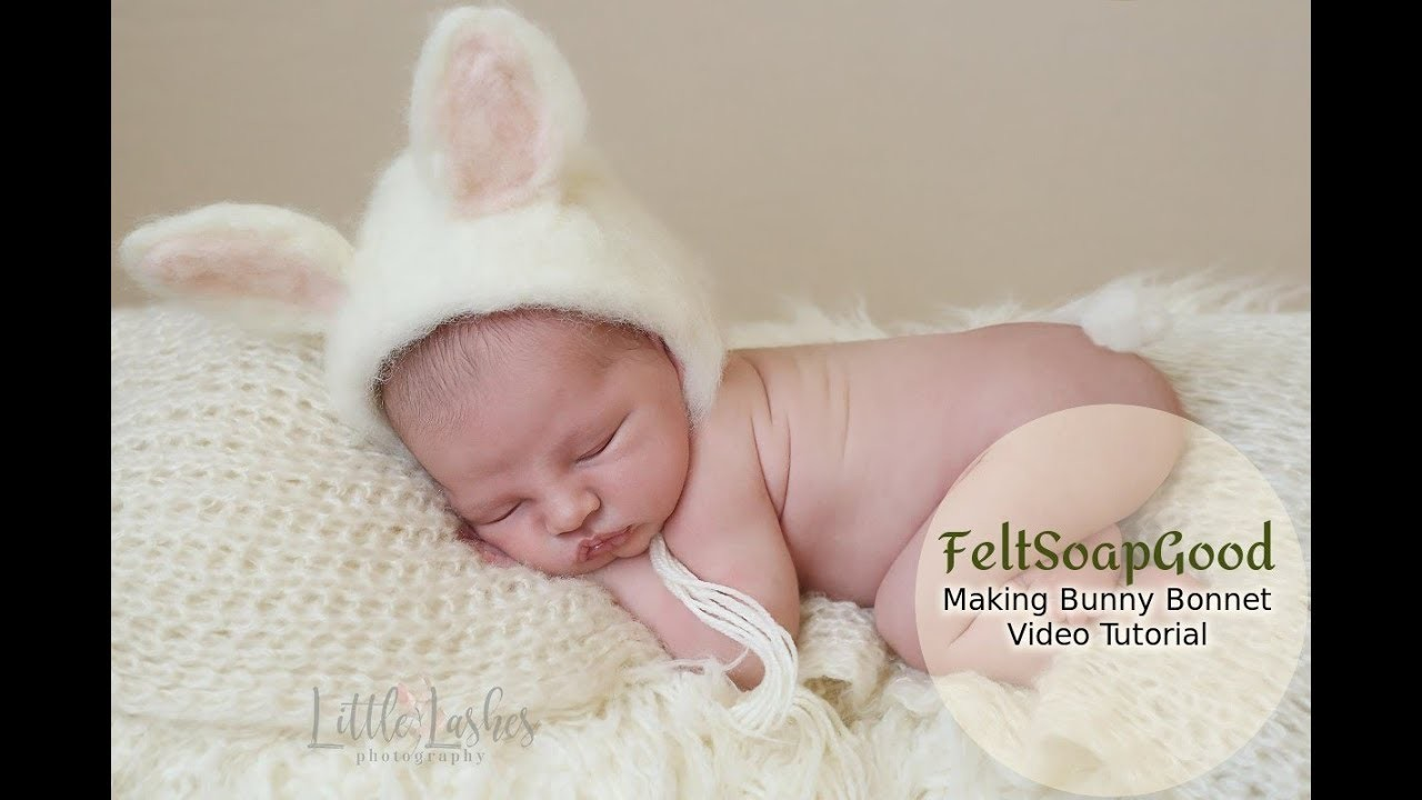 How to make newborn bonnet Bunny by FeltSoapGood