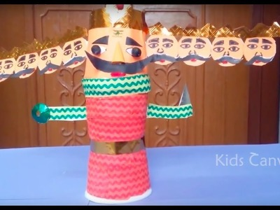 How to make Ravana with paper cups. DIY Paper Craft,  Diwali Crafts