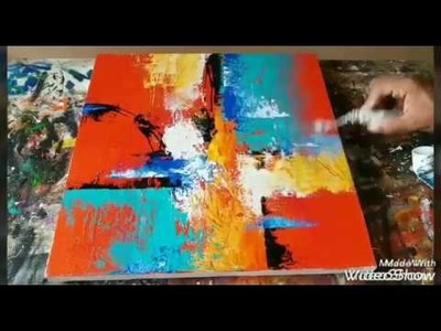 How to paint Abstract painting with Palette Knife #Acrylic abstract painting #Demo #08.03.2017