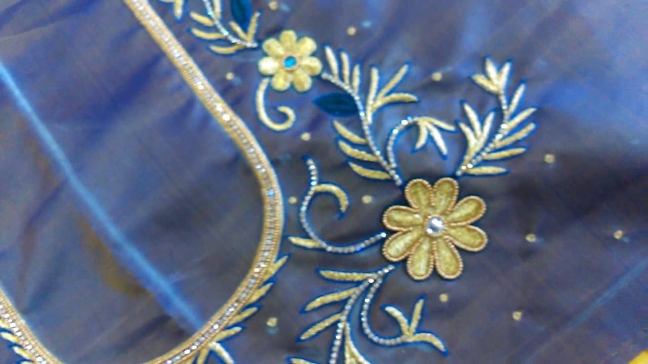 Lakshmi Maggam Work ||  Maggam Work with zari, stone and thread work