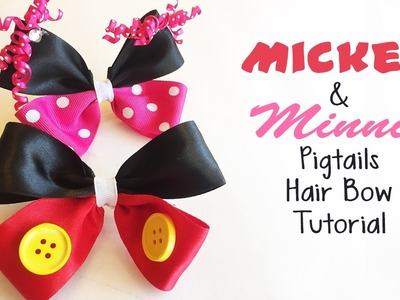 Mickey and Minnie Pigtails Hair Bow Tutorial -The290ss