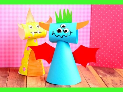 Paper Cone Monsters Craft - fun Halloween crafts for kids