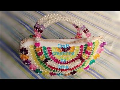অর্ধচন্দ্র ঢেউব্যাগে কাপড় লাগানো||How to make beades bag||Diy craft