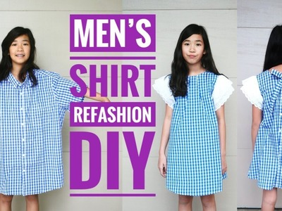 CLOTHING HACK MEN'S SHIRT TO DRESS | REFASHION DIY