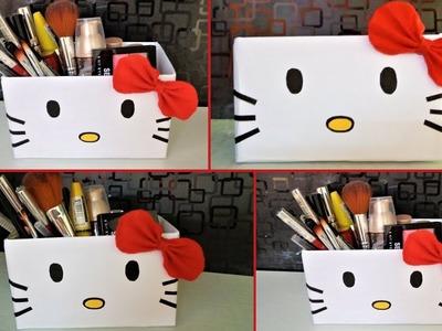 DIY Cardboard Makeup Organizer | DIY Hello Kitty Organizer | How to make