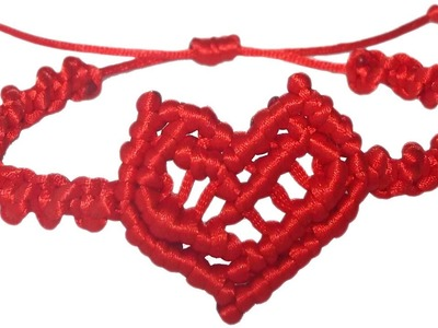 DIY How to make bracelet heart string thread macrame adjust crafts easy San Valentin gift ideas