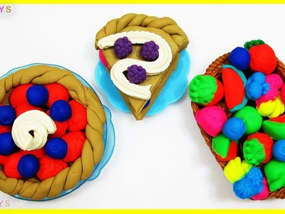 DIY. How to Make with Play Doh pie and colored fruit.  ???? ???? ???? ???? ???? ????