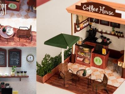 DIY Miniature Cafe - Dollhouse Kit Coffee Shop with Lights