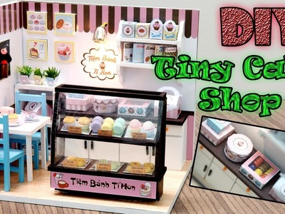 DIY Miniature Dollhouse Kit || Tiny Cake Shop ( with lights )