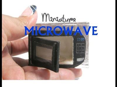 DIY Stainless Steel Microwave Oven Wood Aluminum Dollhouse Miniature