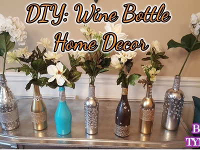 DIY: Wine Bottle Home Decor with spray paint, ribbon and rhinestones