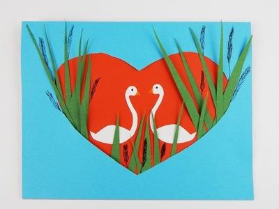 Greeting card Heart with swans DIY Scrapbooking Valentines Day card Glückwunschkarte Herz Schwäne