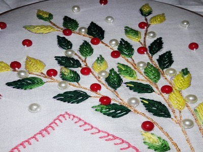 Hand embroidery| leaf stitch Neck design for dresses and blouses by nakshi katha