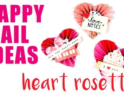HAPPY MAIL IDEAS. *No Die Required!* DIY Heart Rosette Embellishments. Crate Paper Heart Day