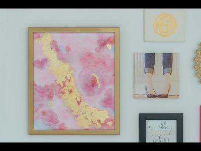 How To. DIY Abstract Painting with Acrylics and Gold Leaf