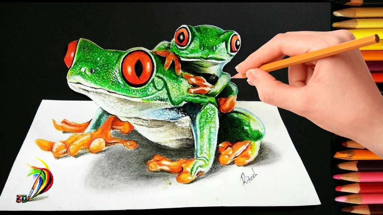 How to draw 3d frog with pencil colors on paper drawing 3d frog tutorial