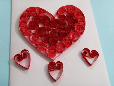 How to make Beautiful Flower with Heart Design Greeting Card. Quilling love. easy valentine card