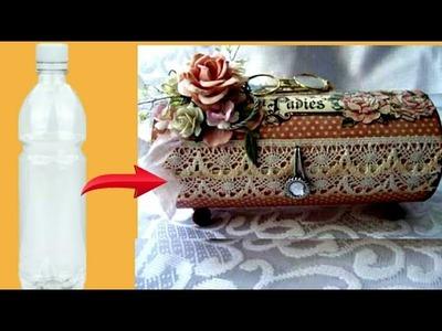 How to make jewelery box-bangle holder using plastic bottle|recycle empty plastic bottles