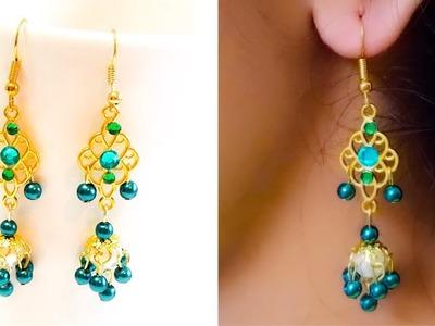 How To Make Pearl Designer Earrings||Diy Pearl Chandelier Earrings||Earrings Making