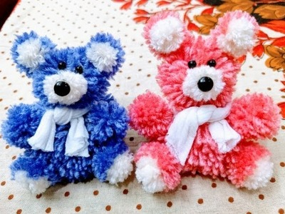 How to make  pompom teddy bear with wool.diy Valentine's day gift idea