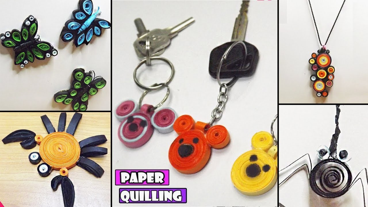 Paper Quilling Art   DIY Miniature Animals and Key chain   Crafts with Paper