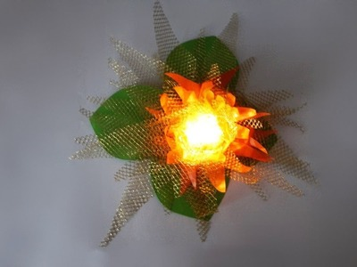 Party decoration flower with LEDs DIY crafting with paper and lattice tulle Party deko Blume