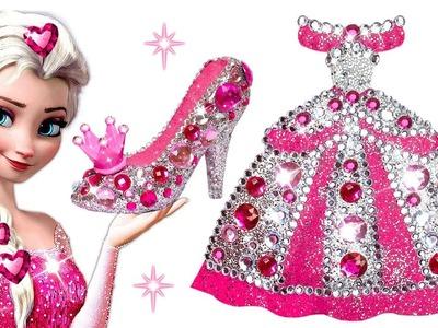 Play Doh Making Sparkle Dress & Shoes For Disney Princess Elsa Frozen