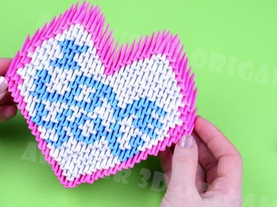 Thanks 50 000 subscribers ♡ I love you! Origami 3D heart of paper Valentine's day ♡ DIY How to make