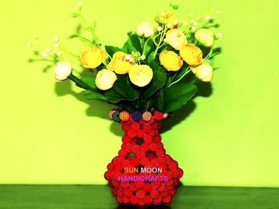 পুতির ফুলদানি.How to make beaded flower vase.DIY Flower vase