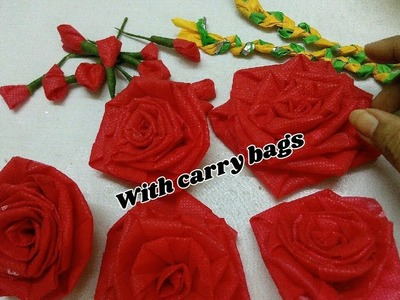Unique reuse DIY idea with carry bags | Door hanging. wall hanging making | Best out of waste