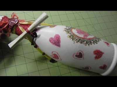 Valentines Bottle With A Message, Wax Seal Stamped -- DIY Decoupage Project