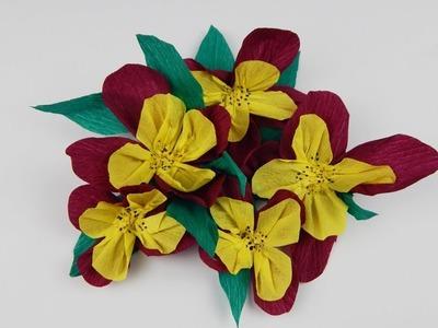 Winter decoration pansies DIY deco crepe paper pansy Stiefmütterchen