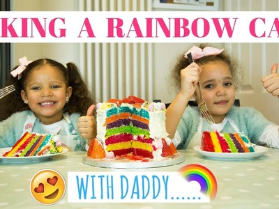 BAKING A RAINBOW CAKE WITH DADDY