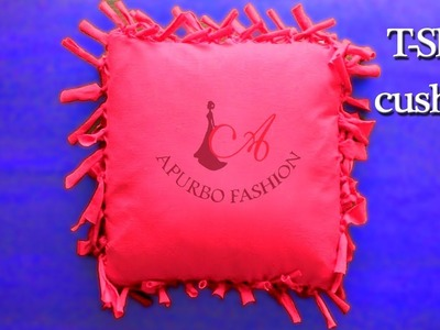 Cushion Cover with Old T Shirt (DIY  Pillow. Cushion Cushion Cover Making)
