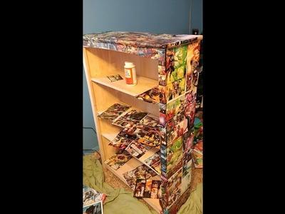 DIY Decoupage.Upcycle bookshelf for a boys room l Comic book