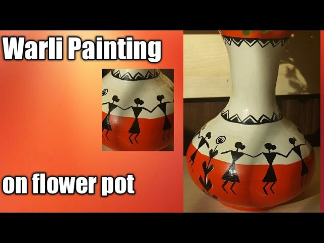 DIY easy warli painting on Pot. How to do simple warli painting on flower pot