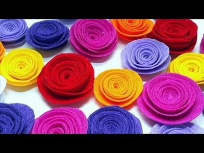 DIY - How to make Felt Roses. Easy felt flower