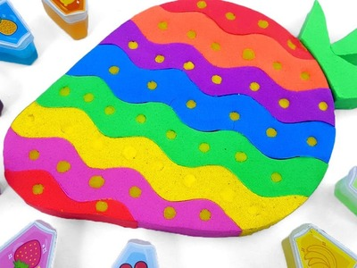 DIY How to make Strawberry with Kinetic Sand Rainbow