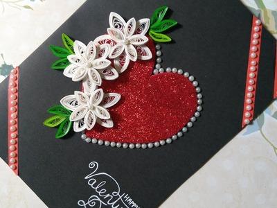 DIY Valentine's Day Card  Handmade V-Day Card Idea Prettyquilling