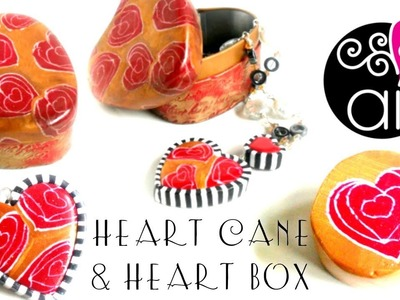 Doodle Heart Cane Tutorial | How to Cover a Box with Polymer Clay | ENG