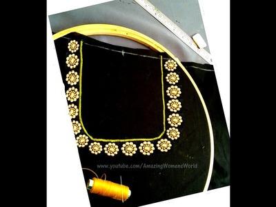 How to make gold beads neck designing easily || గోల్డ్ బీడ్స్ నెక్ లైన్ ఈజీ గా ఎలా తయారుచేయవచ్చు?