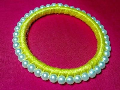 How To Make Pearl Beads Bangle.Thread Bangle || পুতির চুড়ি ||