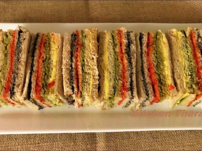 How To Make Ribbon Rainbow Sandwich Vegetarian Recipe رینببوو سینڈویچ