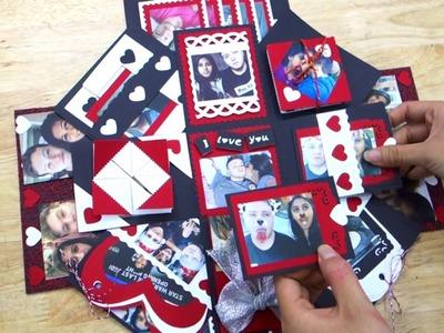Scrapbook Exploding Box Card-Secret Handmade Gift Love in Box-Photo Album DIY Easy-For Wedding