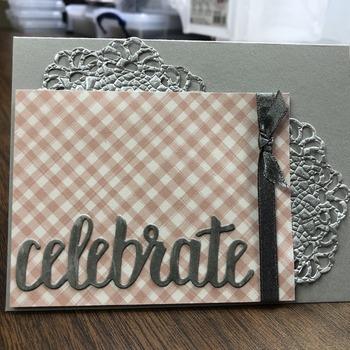"""""""Celebrate"""" Pink/Grey Doily"""